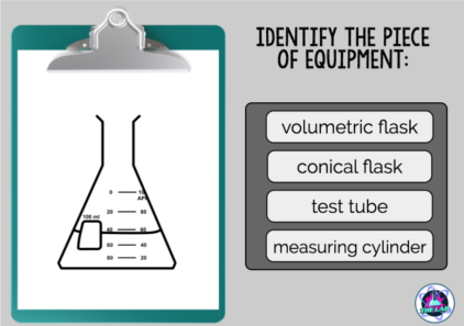 Assess knowledge of the names and uses of basic lab equipment. 20 cards.